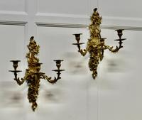 Pair of Large 19th Century Baroque French Brass Triple Wall Sconces (2 of 5)