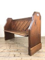 Antique Pitch Pine Church Pew with Enamel Number 27 (3 of 13)