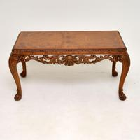 Antique Burr Walnut Queen  Anne Style Coffee Table (2 of 10)