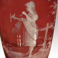 Pair of Mary Gregory Cranberry Glass Vases Maidens (2 of 3)