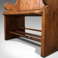 Antique Love Seat, English, Pine, Bench, Pew, Ecclesiastic Taste, Victorian (12 of 12)