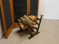 19th Century Blacksmith Made Inglenook Iron Log Carrier (3 of 7)