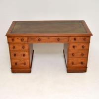 Antique Victorian  Mahogany Leather Top Pedestal Desk (2 of 11)