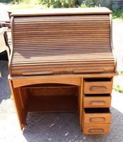 1920s Single Pedestal Oak Stype Rolltop Desk (2 of 6)