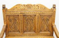 Good Quality  Reproduction  Carved Oak Settle or Hall Seat (15 of 17)
