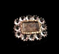 Georgian Mourning Brooch, 9ct Gold, Hairwork and Paste (2 of 12)
