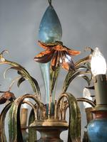 Large Vintage French 6 Arm Polychrome Toleware Ceiling Light Chandelier (11 of 16)