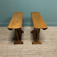 Unusual Pair of Edwardian Oak Drop Leaf Antique Sofa Tables (3 of 7)