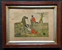 Set of Six 19thc Oak framed Humorous Coloured Sporting Hunting Engraving's (9 of 14)