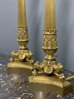 Pair of Regency style gilt bronze lamps with shades (5 of 6)