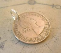 Vintage Pocket Watch Chain Fob 1963 Lucky Silver One Shilling Old 5d Coin Fob (4 of 7)
