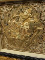 Framed Vintage Balinese Embroidered Tapestry of Two Gentlemen Warriors (9 of 12)