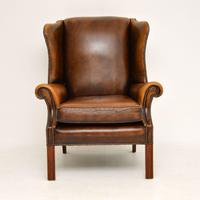 Antique Georgian Style Leather Wing Back Armchair (6 of 11)