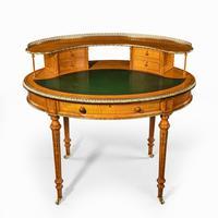 Unusual Victorian Freestanding Oval Satinwood Desk (5 of 12)
