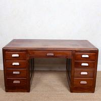 Desk Twin Pedestal Mahogany Leather Art Deco (11 of 12)