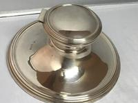 Large Solid Silver Capstan Inkwell