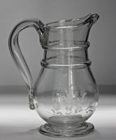Victorian French 'Normandy' Mould-blown, Engraved Glass Cider / Wine Jug (6 of 6)