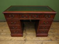 Small Antique Reproduction Pedestal Desk with Leather top, Brights of Nettlebed (2 of 10)