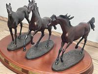 """Set 3 Small Solid Bronze Horse Racing """"The Origins of Champions"""" by Gill Parker (8 of 45)"""
