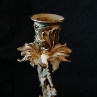 Ornate Antique Bronze & Ormolu Candlestick (4 of 6)