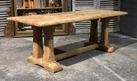 French Bleached Oak Trestle Farmhouse Dining Table (6 of 18)
