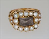 Georgian 15ct Gold Pearl Antique Memorial English Ring c.1800 (3 of 20)