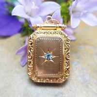 Antique Victorian 9ct Gold & Aquamarine Rectangular Locket Pendant (3 of 9)