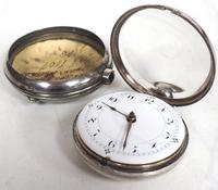 Antique Silver Pair of Case Pocket Watch Fusee Verge Escapement Key Wind Enamel Dial Thomas Cooker Oakham (6 of 12)