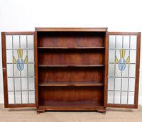 Oak Leaded Stained Glazed Bookcase Arts & Crafts Edwardian (5 of 11)