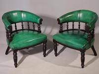 Fine Pair of Victorian Horseshoe Backed Library or Desk Chairs
