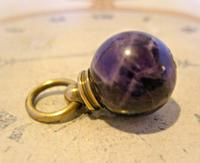 Victorian Pocket Watch Chain Fob 1890s Antique Large Brass & Amethyst Ball Fob