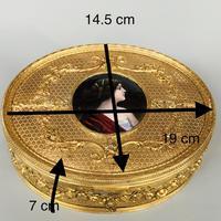 Super large gilt jewel box with Limoges enamel miniature (5 of 5)