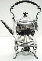 English Victorian Antique Solid Silver Spirit Kettle with Original Silver Burner c.1900 (4 of 9)