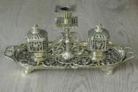 Fine William Tonks & Sons Brass Inkwell Registered Diamond for 1883 Double Inkstand (2 of 10)