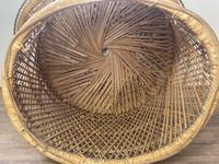Vintage Boho Mid 20th Century Rounded Peacock Rattan Chair with Cushion (15 of 15)
