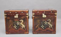 Pair of Early 20th Century Leather Bound & Painted ex Army Trunks (3 of 10)