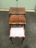Antique Burr Walnut Nest of 3 Tables (5 of 8)