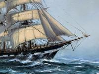 Large Beautiful Mid-Century Full-Masted Ship in Rough Seas Seascape Oil Painting (5 of 12)