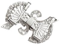 4.16ct Diamond & Platinum Double Clip Brooch - Art Deco c.1930 (6 of 12)