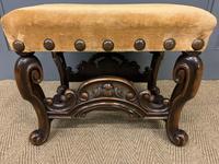 Carolean Style Upholstered Walnut Stool (2 of 6)