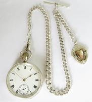 Antique Silver Waltham Pocket Watch & Chain (2 of 5)