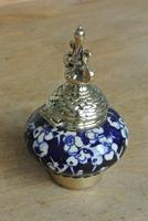 Fine Victorian Brass Inkwell Chinese Inspired Prunus Blossom Pottery Ink Pot c.1880 (6 of 8)