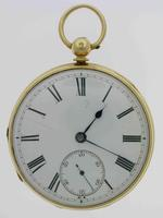 18Kt Yellow Gold Open Face Pocket Watch Hallmarked London 1857