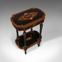 Antique Napoleon III Side Table, French, Etagere, Burr Walnut, Sewing c.1870 (6 of 12)