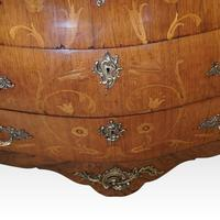 1930's Marble Top Marquetry Bombe Commode (5 of 9)