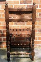 Antique Wood Riveted Woven Leather Seat Chair 19th Century (4 of 5)