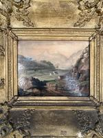 Antique Victorian Landscape Oil Painting in Ornate Gesso Frame (4 of 10)
