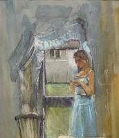 Stunning 20th Century Watercolour & Pastel Portrait Painting in Art Deco Manner (4 of 11)