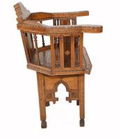Arabic Chair Antique Damascan Furniture Inlay 1920 (7 of 10)