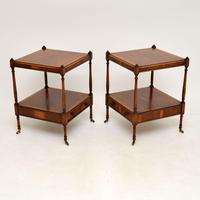 Pair of Antique Georgian Style Yew Wood Side Tables (11 of 14)